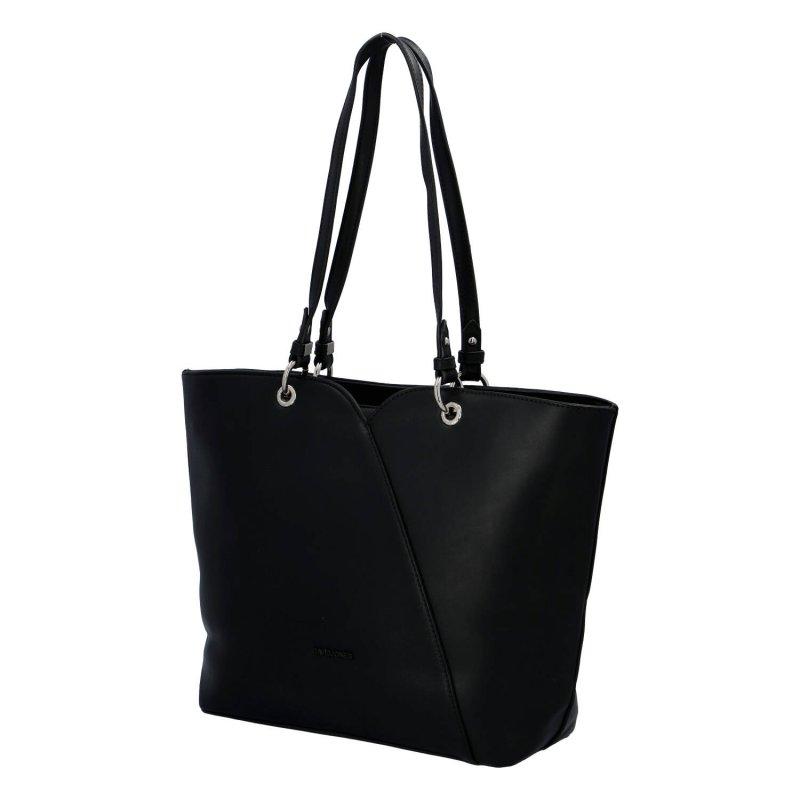 Velká a elegantní dámská koženková taška Kelly, černá