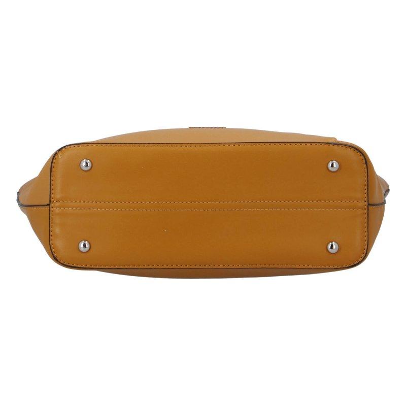 Velká a elegantní dámská koženková taška Kelly, žlutá