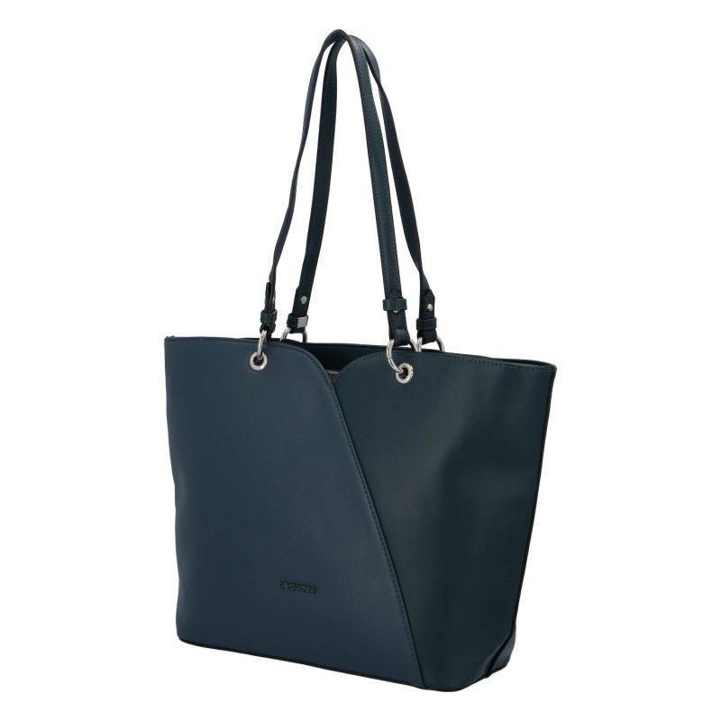 Velká a elegantní dámská koženková taška Kelly, zelenomodrá