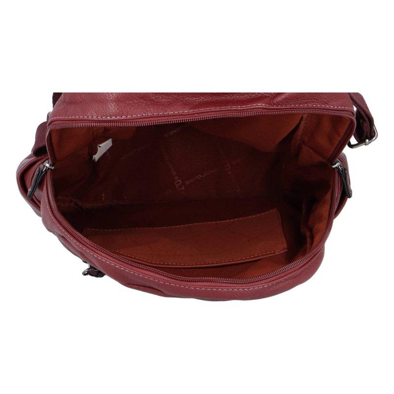 Praktický dámský koženkový batůžek Robyn, vínová