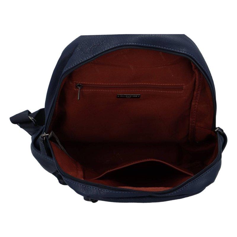 Praktický dámský koženkový batůžek Robyn, modrá