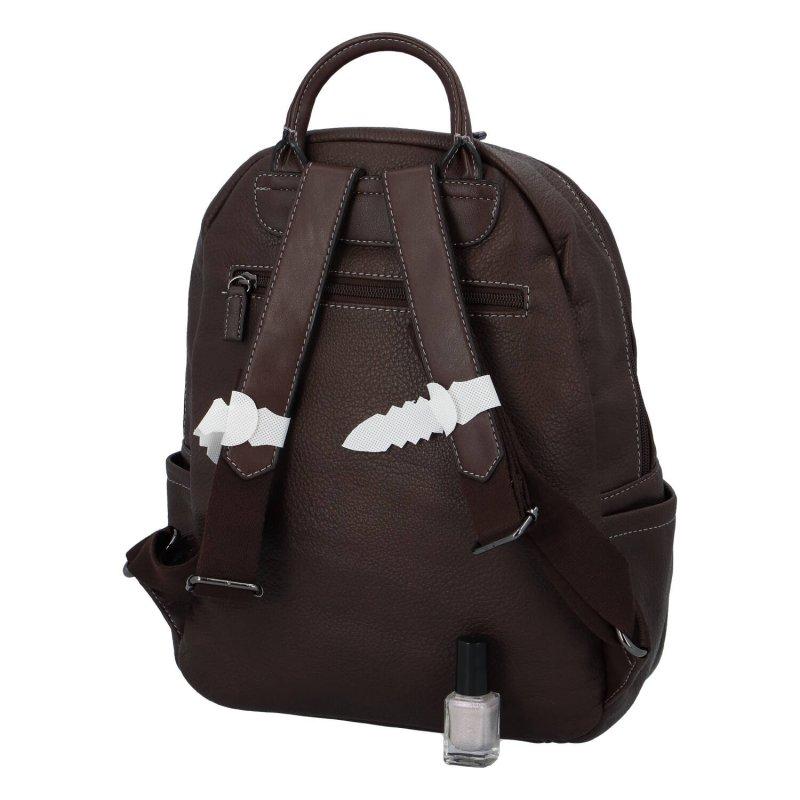 Praktický dámský koženkový batůžek Robyn, tmavě hnědá