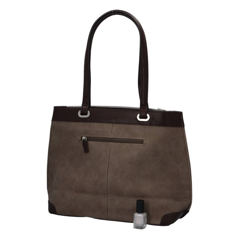 Velká a prostorná dámská koženková taška Nathalie, hnědá