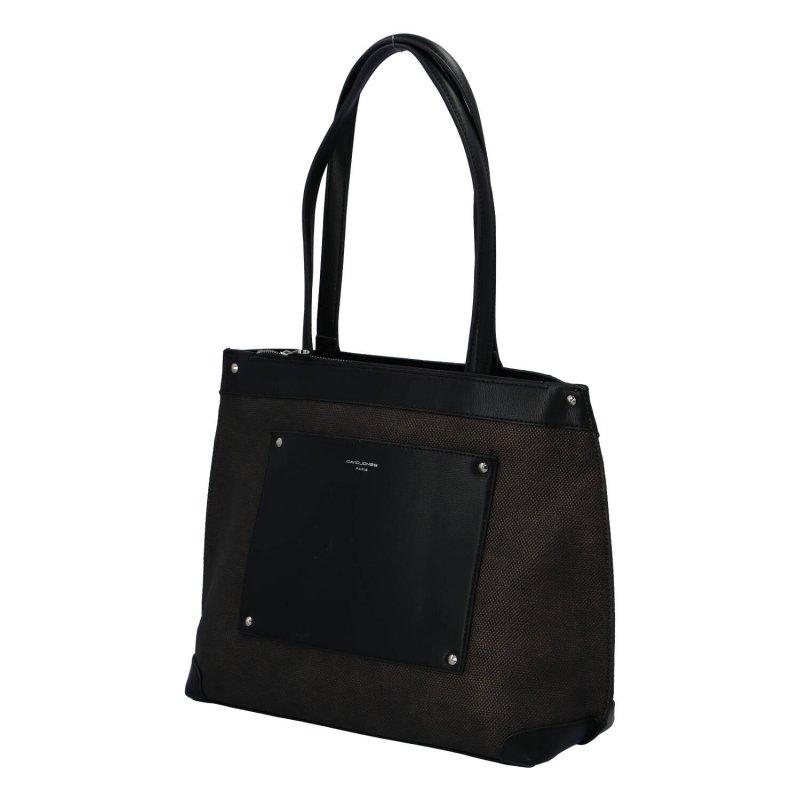 Velká a prostorná dámská koženková taška Nathalie, černá/zlatá