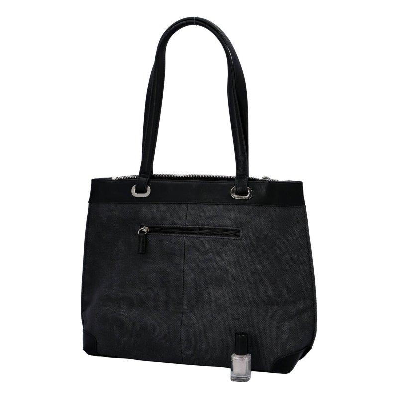Velká a prostorná dámská koženková taška Nathalie, černá