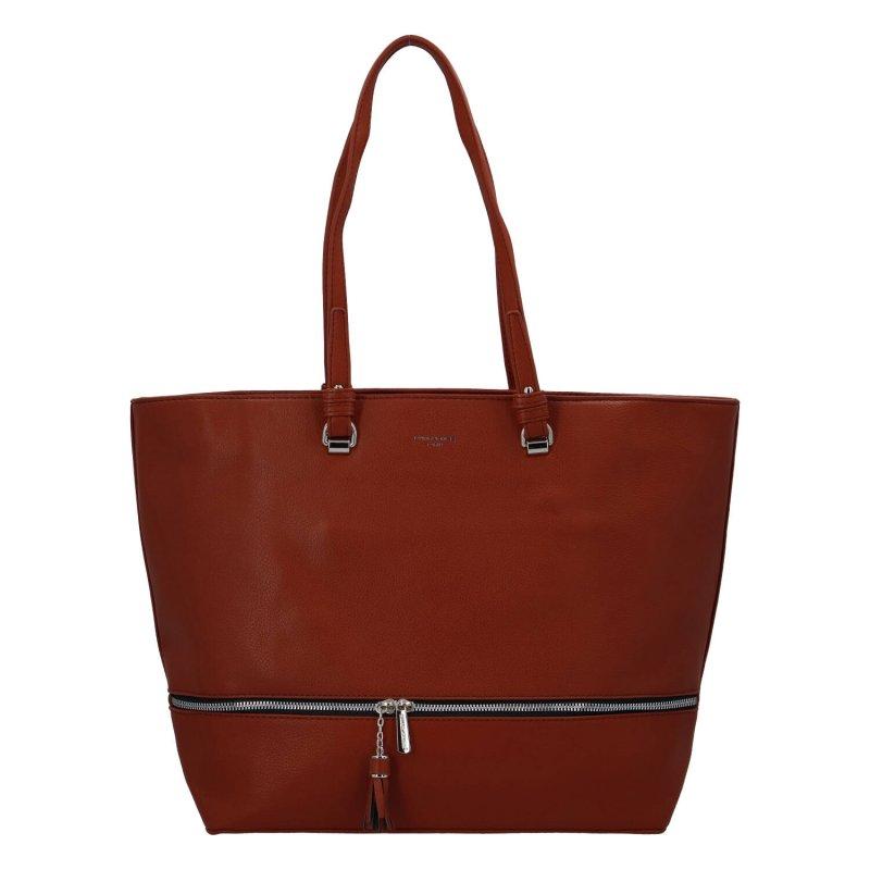 Velká stylová dámská koženková taška Nicole, hnědočervená