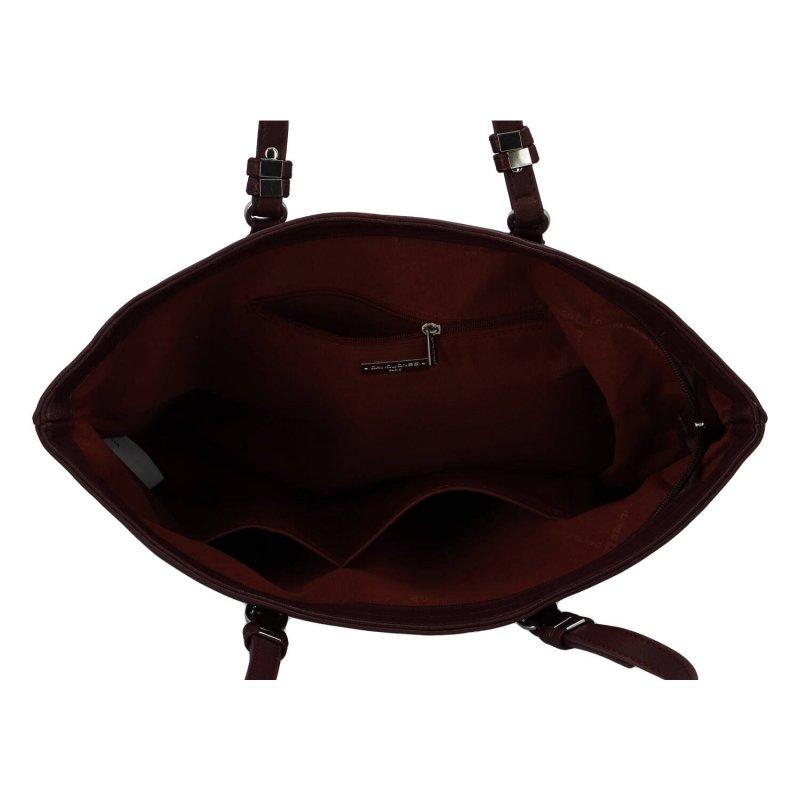Velká stylová dámská koženková taška Nicole, vínová