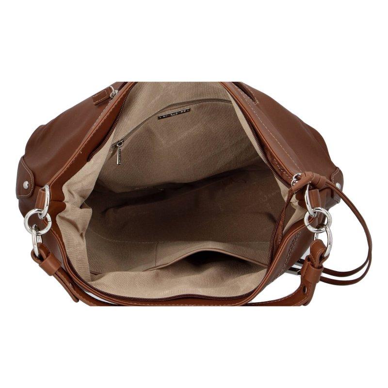 Pohodlná dámská koženková kabelka Celine, hnědá