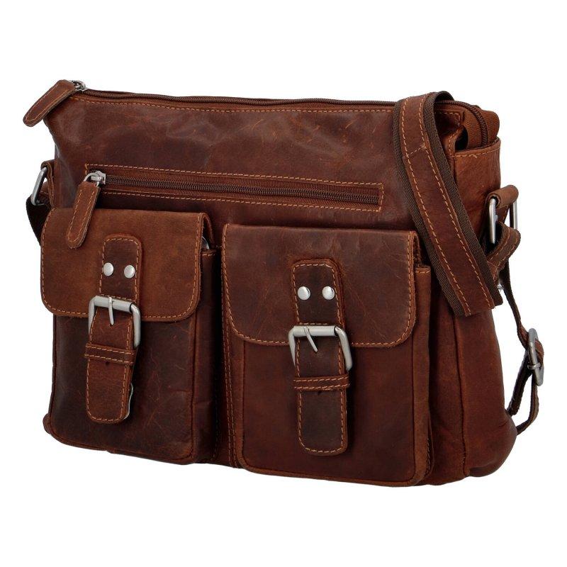 Stylová volnočasová kožená taška Aldric Green Wood, hnědá