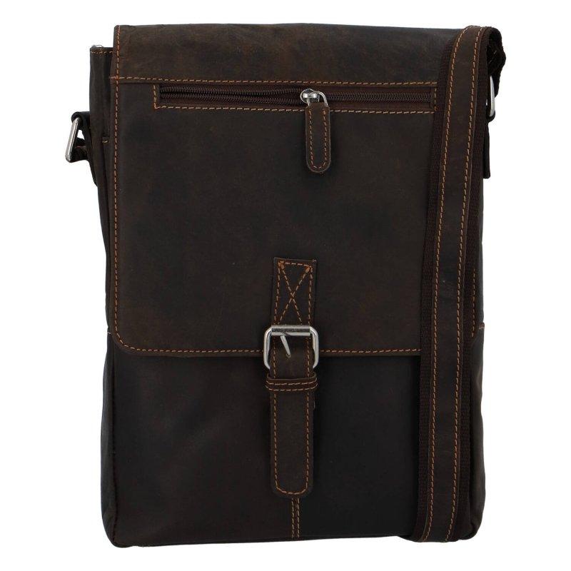 Kožená taška na výšku s dlouhým uchem Prisca Green Wood, tmavě hnědá