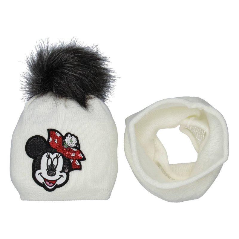 Dětská čepice s nákrčníkem Myška s glitry, béžová
