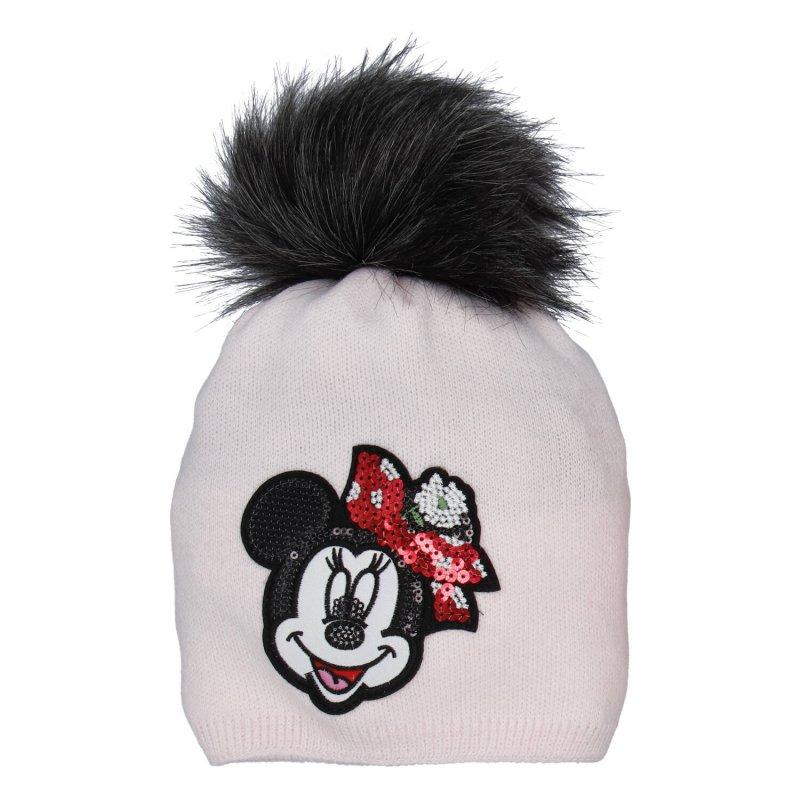 Dětská čepice s nákrčníkem Myška s glitry, růžová