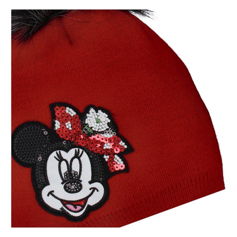 Dětská čepice s nákrčníkem Myška s glitry, červená