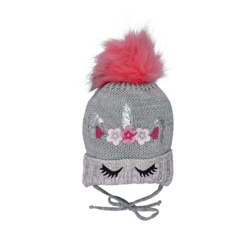 Dětská čepice s nákrčníkem Jednorožec, šedá - růžová