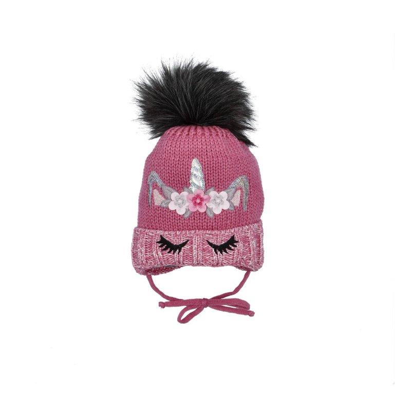 Dětská čepice s nákrčníkem Jednorožec, růžová