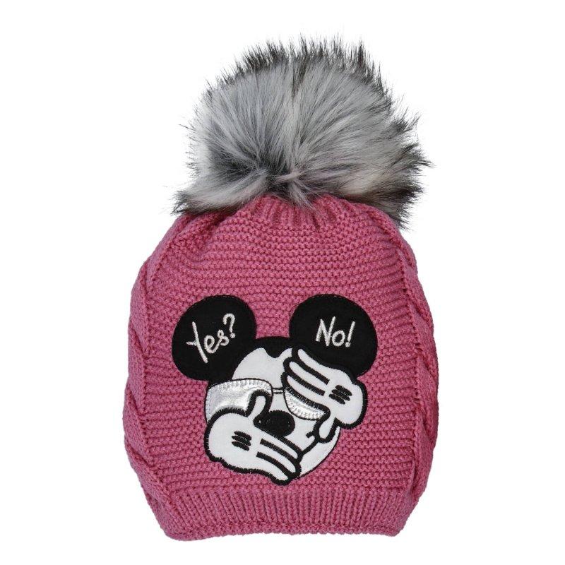 Dětská čepice s nákrčníkem Myšák, růžová