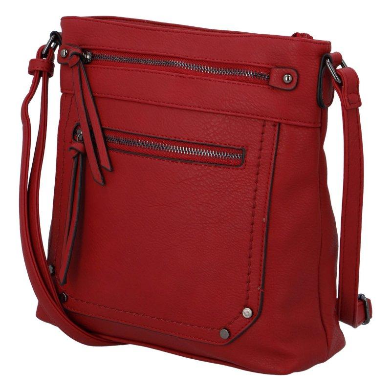 Praktická dámská koženková crossbody kabelka Erica, červená