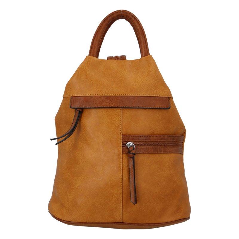Dámský koženkový batoh Sybilka, žlutý