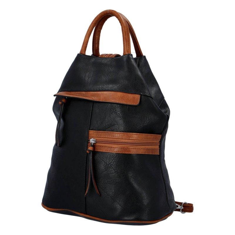 Dámský koženkový batoh Sybilka, černo hnědý