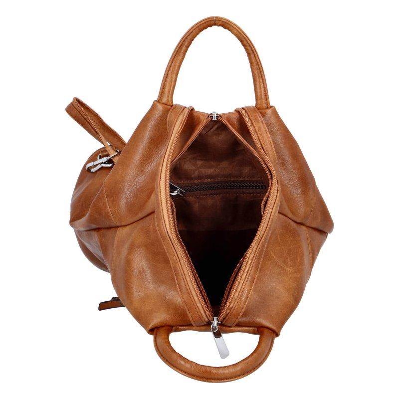Dámský koženkový batoh Sybilka, světle hnědý
