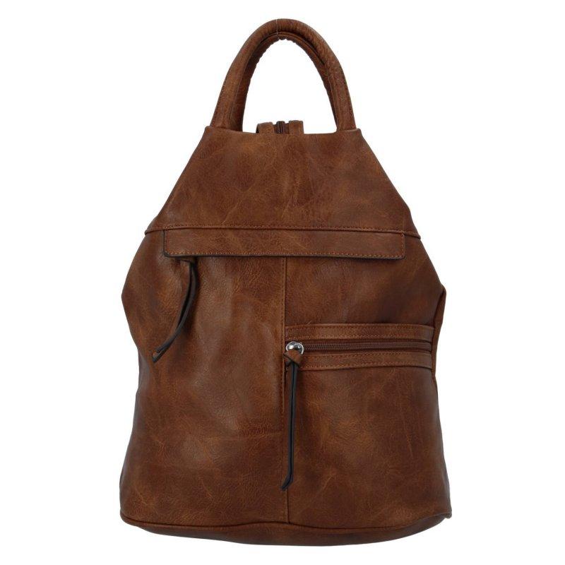 Dámský koženkový batoh Sybilka, tmavě hnědý