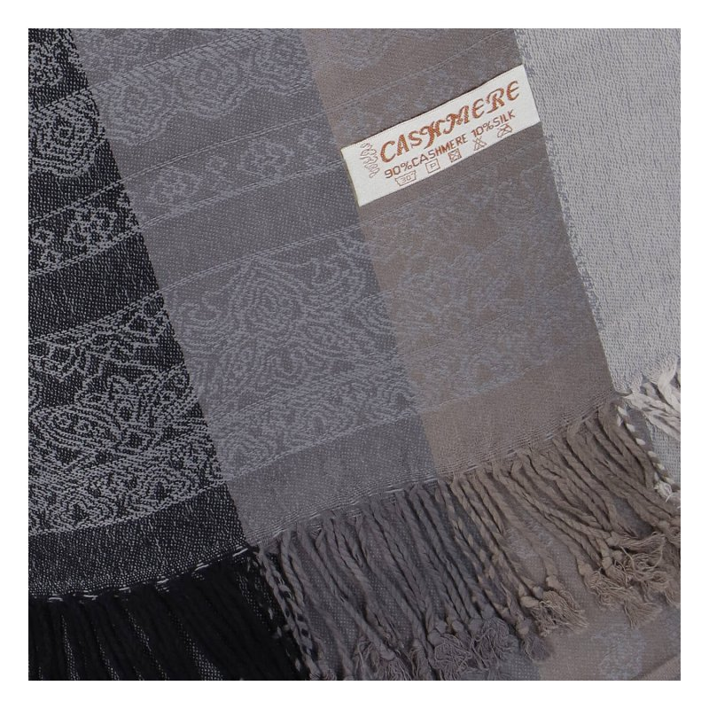 Kašmírová šála pruhovaná s ornamentem Indie, šedá