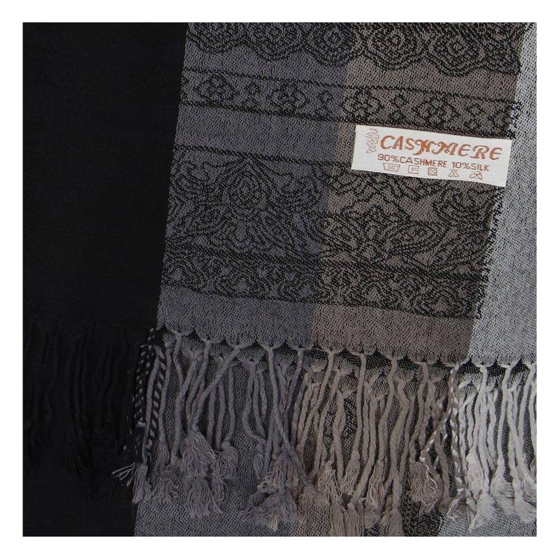 Kašmírová šála pruhovaná s ornamentem Indie, černá