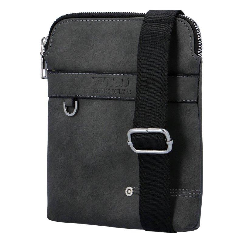 Menší pánská koženková crossbody taška Wild forever, černá