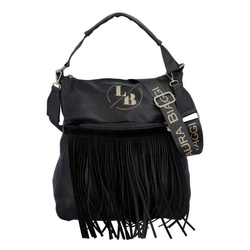 Módní dámská koženková kabelka s třásněmi Chiara Laura Biaggi, černá