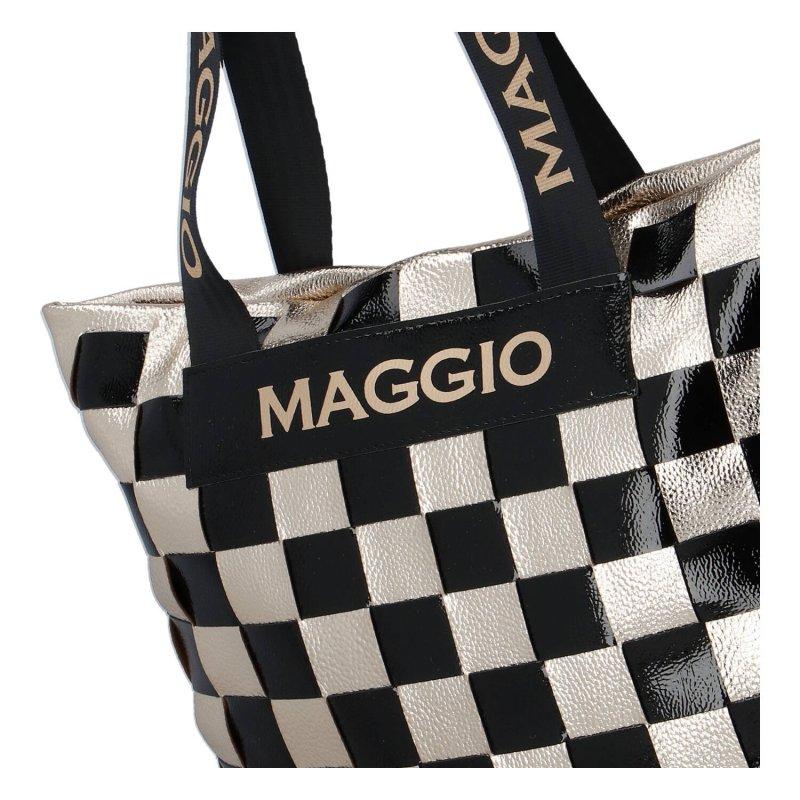 Stylová a hravá dámská koženková kabelka Francesca Maggio, černá/stříbrná