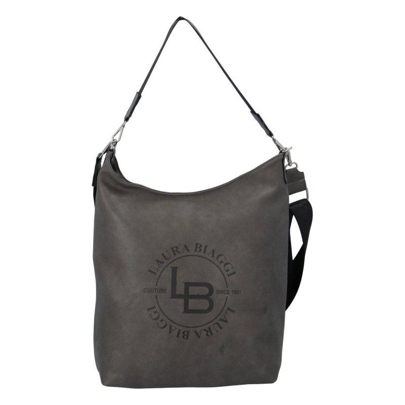 Pohodlná a praktická dámská koženková kabelka Federica Laura Biaggi, šedá