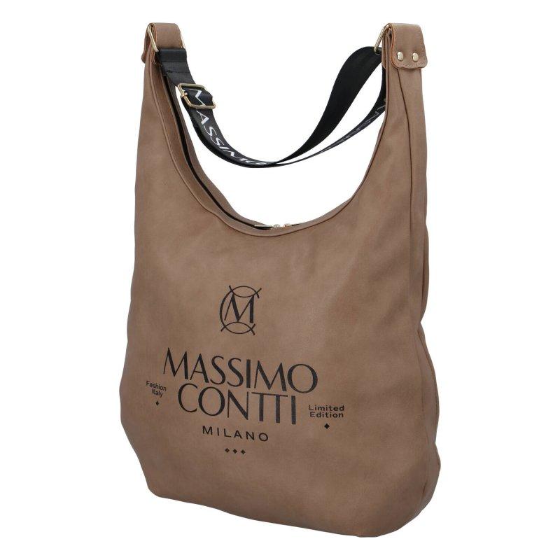 Módní dámská koženková taška v lodičkovém střihu Sara Massimo Conti, světle hnědá