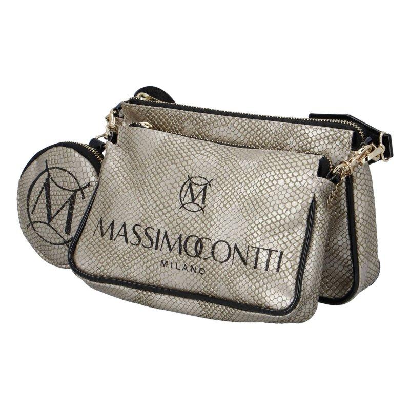 Módní dámská menší koženková kabelka s hadím potiskem Valentina Massimo Conti, stříbrná/zlatá