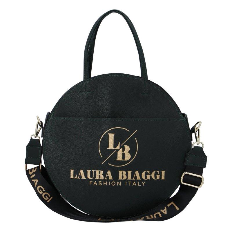 Módní kulatá dámská koženková taška Silvia Laura Biaggi, tmavě zelená