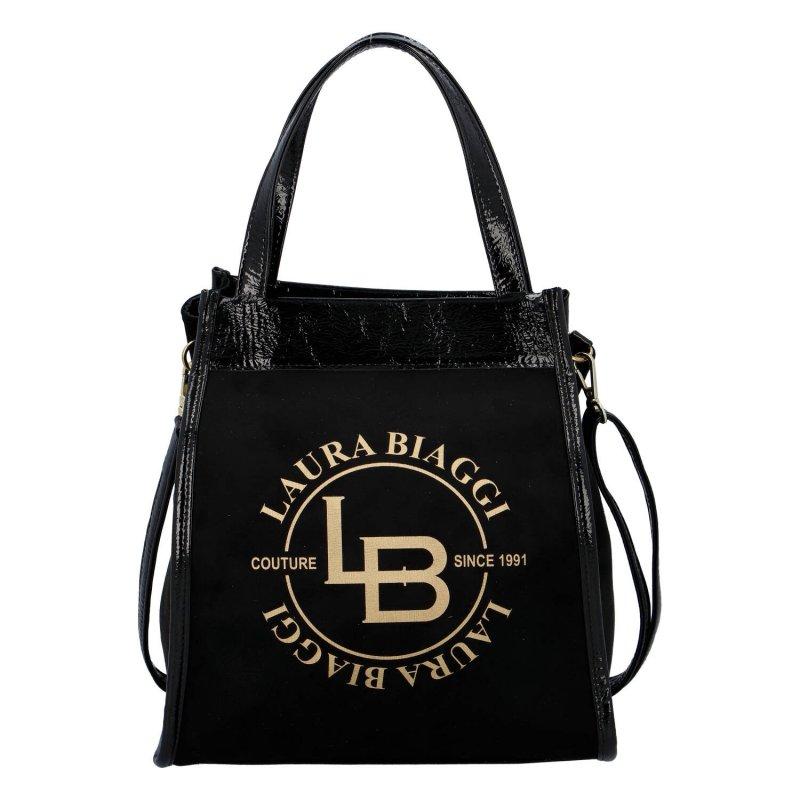 Luxusní a nepřehlédnutelná dámská semišová kabelka Ilaria Laura Biaggi, černá