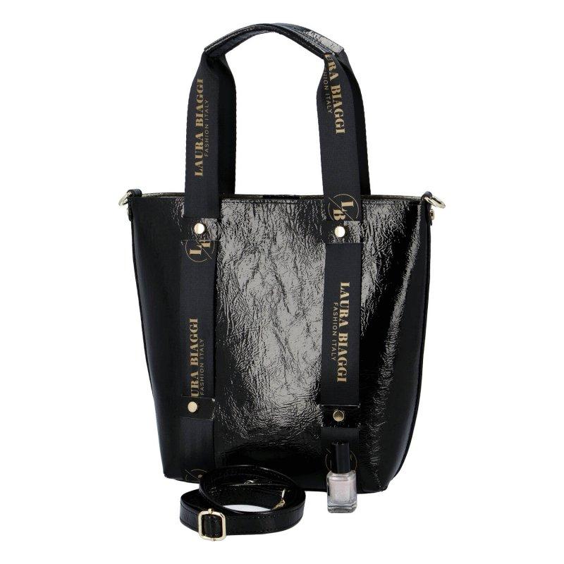 Módní lakovaná dámská koženková kabelka Eleonora Laura Biaggi, černá