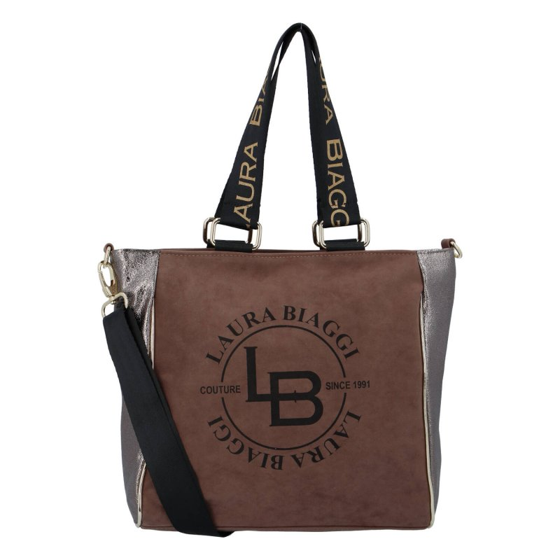 Krásná a praktická dámská koženková taška Giorgia Laura Biaggi, hnědá