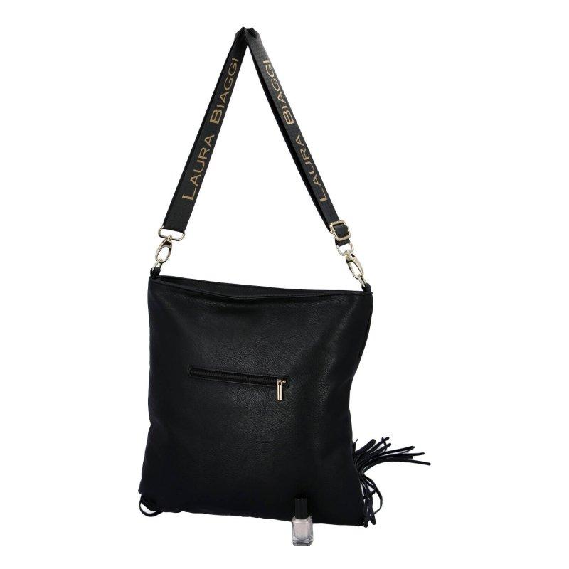Stylová a módní dámská koženková kabelka s třásněmi Elena Laura Biaggi, černá