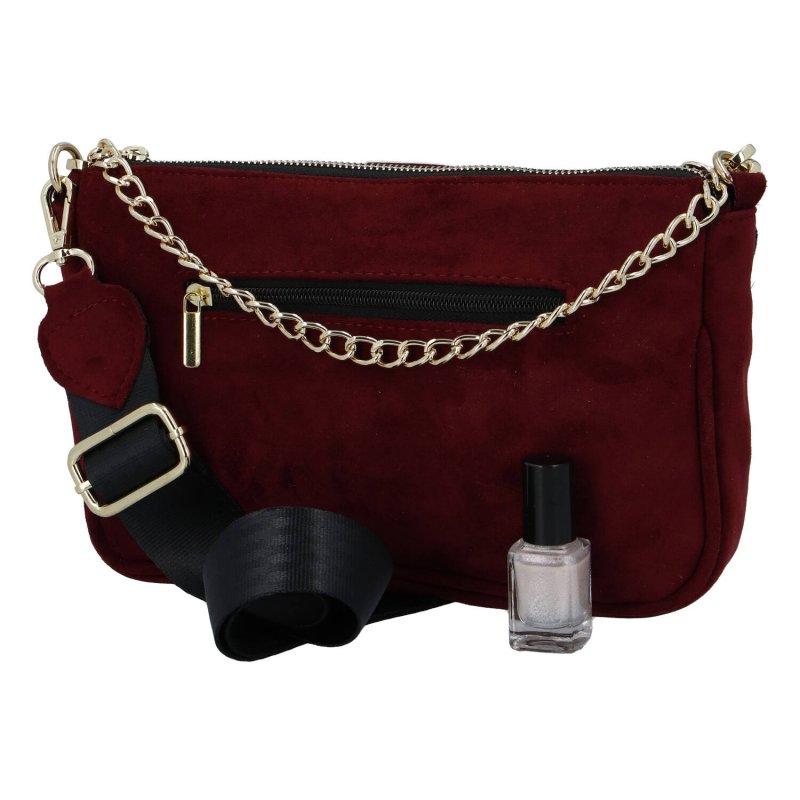 Semišová krásná malá dámská kabelka Alice Laura Biaggi, vínová