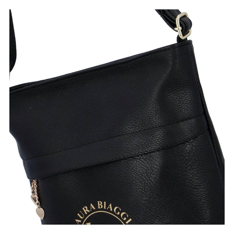 Praktická dámská koženková kabelka Jessica Laura Biaggi, černá