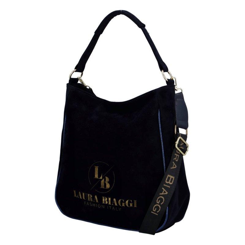 Krásná dámská semišová kabelka Veronica Laura Biaggi, tmavě modrá