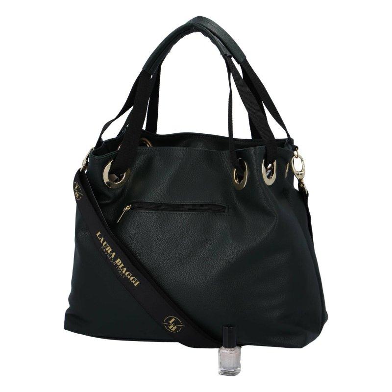 Luxusní a prostorná dámská koženková taška Anna Laura Biaggi, černá