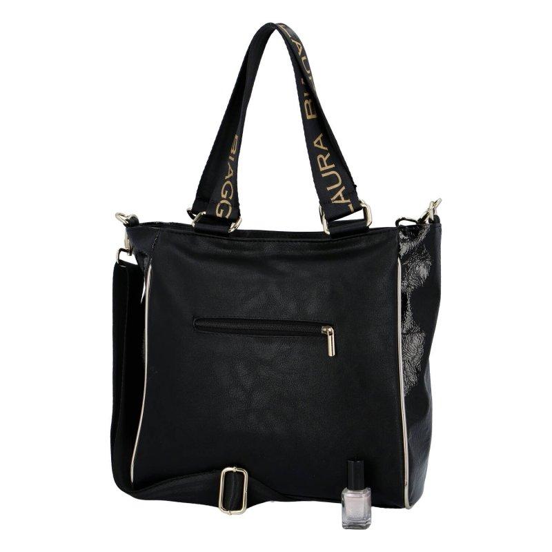 Velká a jedinečná dámská koženková taška Claudia Laura Biaggi, černá