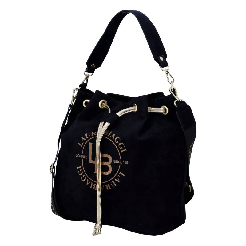 Nepřehlédnutelná dámská semišová kabelka/vak Beatricie Laura Biaggi, černá