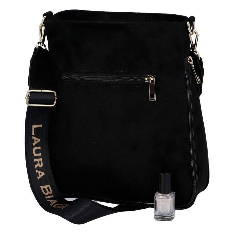 Sportovní a módní dámská semišová taška s dlouhým popruhem Valeria Laura Biaggi, černá