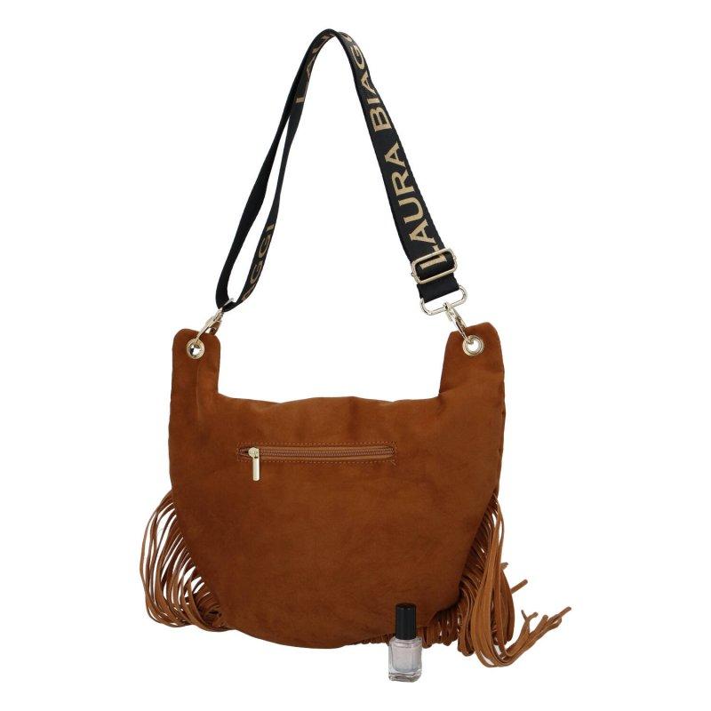 Stylová a nepřehlédnutelná dámská kabelka s třásněmi Irene Laura Biaggi, koňaková