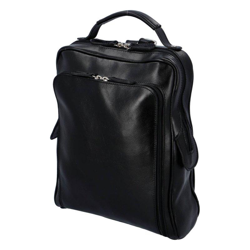 Stylový a prostorný pracovní kožený batoh unisex Audrey, černá