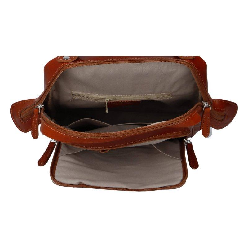 Stylový a prostorný pracovní kožený batoh unisex Audrey, koňaková