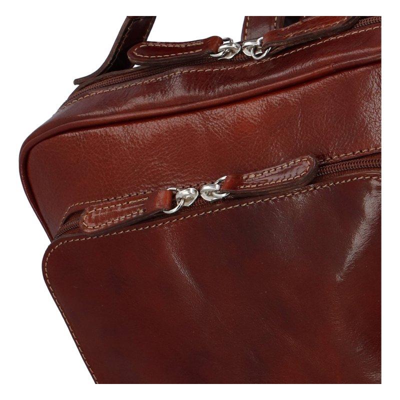 Stylový a prostorný pracovní kožený batoh unisex Audrey, hnědá
