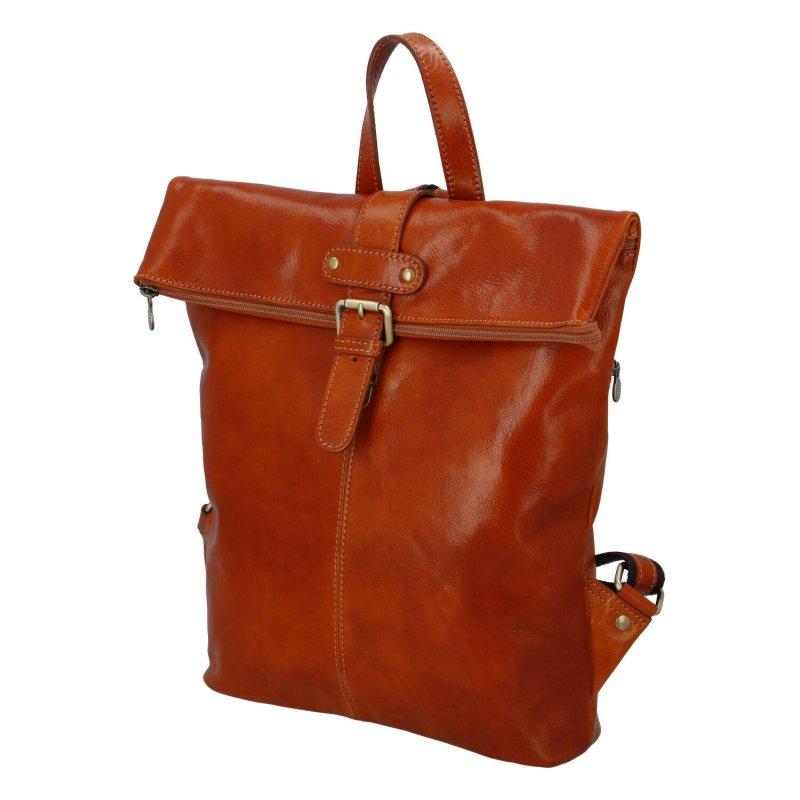 Prostorný kožený batoh pro dámy i pány Claire, koňaková
